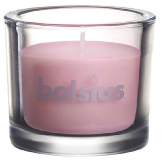 Ροζ Παστέλ Διακοσμητικό Κερί σε βαρέως τύπου Γυάλινο Βάζο Ύψους 8 εκ.