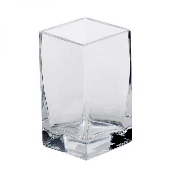 Διακοσμητικό Τετράγωνο Γυάλινο Βάζο ύψους 20 εκ.